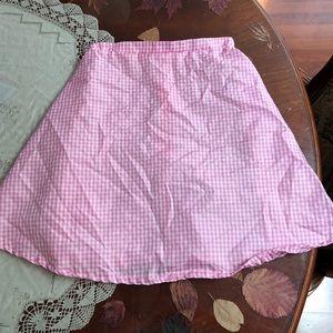 Pink white checkered gingham high waisted skirt